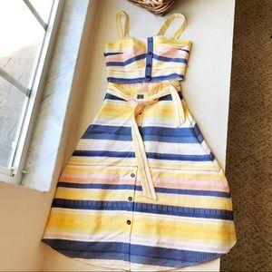 Anthropologie Stripe Skirt And Top Set